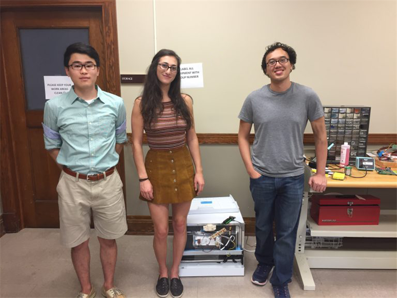 Students researching the IoT during the Summer of 2017. From left to right: Daniel Yee, Clara Schaye, John Nguyen