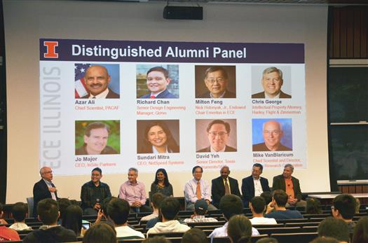 The 2017 Distinguished Alumni panel. From left to right, moderator Michael VanBlaricum, Richard T. Chan, Jo Major, Sundari Mitra, David Yeh, Azar S. Ali, Milton Feng, and Christopher George.
