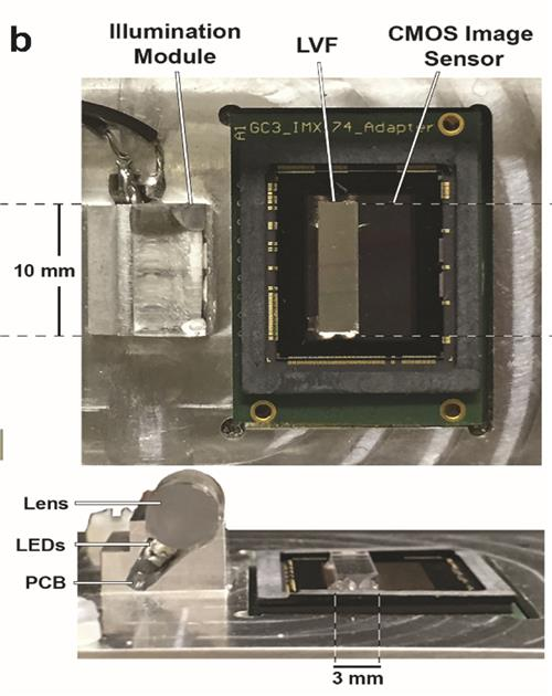 Top view and side view of the compact spectrometer for the smartphone science camera, comprised of an image sensor chip with a linear variable filter attached over the surface.