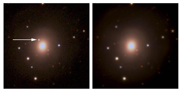 The image on the left shows the kilonova (just above and to the left of the brightest galaxy) recorded by the Dark Energy Camera. The image on the right was taken several days later and shows that the kilonova has faded. Image: Dark Energy Survey