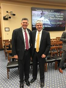 William H Sanders (right) with Illinois Representative (left) Darin LaHood, before the testimony.