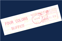 For a number of years following the publication of the Four Color Theorem proof, the Department of Mathematics stamped outgoing mail with this postmark. (Image courtesy of the Department of Mathematics.)