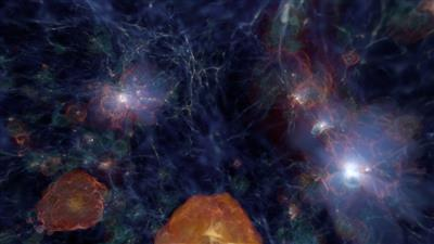 Still pulled from sequence, 'First Light in the Renaissance Simulations: Formation of the Very First Galaxies in the Universe.' Credits, Michael Norman & Hao Xu, UC San Diego; Brian O'Shea, Michigan State U.; John Wise, Georgia Tech; Kyungjin Ahn, Chosun U. Image courtesy of National Center for Supercomputing Applications.