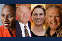 From left: Ifeoluwa (Luvvie) Ajayi, David Boger, Nancy Greenwalt, and Donald Johanson have all received 2017 College of LAS alumni awards.