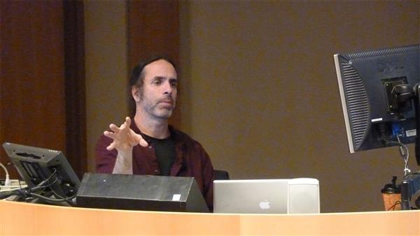 Landreth speaking at Siebel Center for 'Unvalleying the Uncanny' lecture in 2011