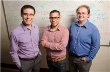 Inspired by the principles of natural polymer synthesis, Illinois chemical and biomolecular engineering professor Charles Sing, left, and graduate students Jason Madinya and Tyler Lytle co-authored a study that found they could create new synthetic materials by tuning the electrostatic charge of polymer chains.