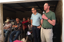 Matt Eisenbrandt, right, speaks to a community group in Guatemala as part of his work advocating for victims of abuses and atrocities (image courtesy of Matt Eisenbrandt.)