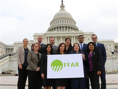 The 2017 Foundation for Food and Agriculture Award for Early Career Innovation recipients are back row (left to right): Markita Landry, Benjamin Reading (2016), Sotirios Archontoulis, Mary Jamieson (2016), Diwakar Shukla, Jonas King