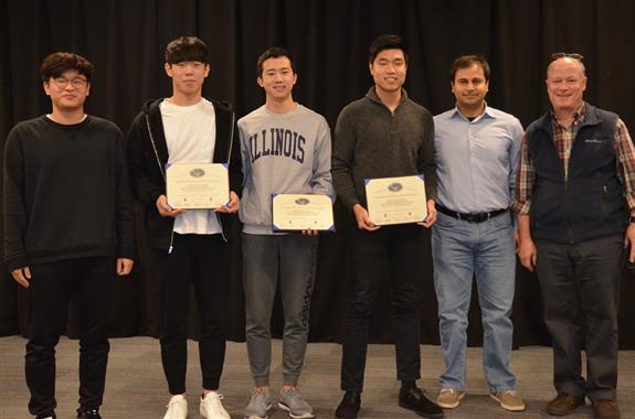 'Recovery-Monitoring Knee Brace' won The Lextech Senior Design Most Marketable Project Award. The team includes Dennis Ryu, Dong Hyun Lee, and Jong Yoon Lee, pictured with Professors Bayram and Reinhard and TA Dongwei Shi.