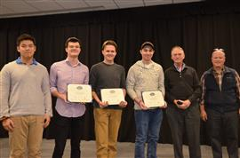 The Lextech Senior Design Best Engineered Project Award was also presented to 'RFI Detector.' The team includes Jamie Brunskill, Kyle Stevens, and Tyler Shaw, pictured with TA Zipeng Wang, and Professors Fliflet and Reinhard.