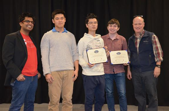 Texas Instruments' Best Use of Texas Instruments Hardware Award was awarded to 'I/O System Design for the PSYONIC Advanced Bionic Hand.' The team includes Byron Hopps and Wenjun Sun, pictured with ECE alumnus and PSYONIC CEO Aadeel Akhtar, TA Zipeng Wang, and Professor Reinhard.