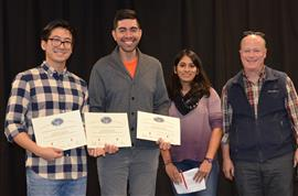 'Autonomous Motorized Mount for PATHS Sensor' won the Research Area Award. Team members include Brandon Bogue, Marvin Hernandez, and Quoc Pham. TA Yamuna Phal and Professor Reinhard are pictured as well.