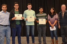 'Cell Phone Transmission Detector' won the Courage Area Award. The team includes Anish Bhattacharya, Anthony Schroeder, and Shandilya Pachgade, pictured with TA Yamuna Phal and Professors Bayram and Reinhard.