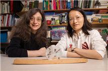 Entomology professor May Berenbaum, left, and postdoctoral researcher Ling-Hsiu Liao found that honey bees have a slight preference for food laced with the fungicide chlorothalonil at certain concentrations. (Photo by L. Brian Stauffer.)