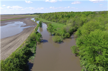 Bruce Rhoads used a drone to capture this image of standing water in farm fields after flooding along the Kaskaskia River (left) and Two-Mile Slough (right), near the Champaign-Douglas (Illinois) County border. Rhoads is a leader in the study of how rivers and streams change over time.