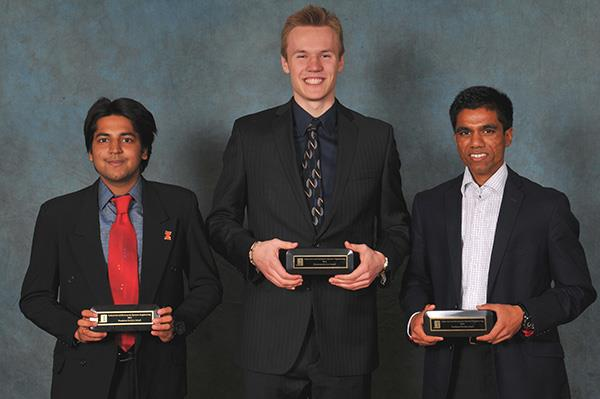2015 winners of the Industrial and Enterprise Systems Engineering Service Awards (Freshmen) (left to right): Virupaksh Agrawal, Vidas Kulbis, Jigar Patel. Not pictured: Andrew Xu.