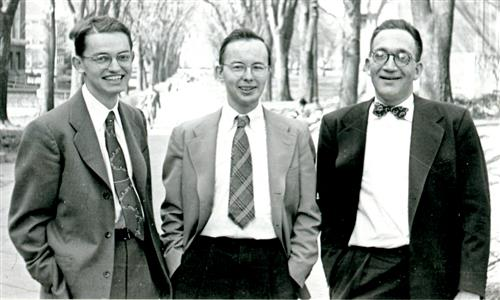 New faculty member Charles Slichter (left), graduate student John Blair (center), Illinois physicist Sidney Drell (right) on the Quad on their way back from a UI football game in 1951.
