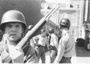 National Guard Troops by the Illini Union, circa 1970, courtesy of the University of Illinois Archives