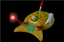 Cyberslug, depicted in this cartoon as a cyborg, is an artificially intelligent creature. (Graphic by Mikhail Voloshin.)