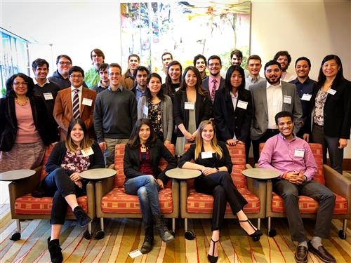 The Sloan Center Scholars include four Illinois Physics graduate students. first-year physics grad students Johny Echevers (3rd row, first from left), Marcus Rosales (3rd row, third from left) Michael Highman (3rd row, 6th from left ), and Luis de Jesus Astacio (back row, first from the right).