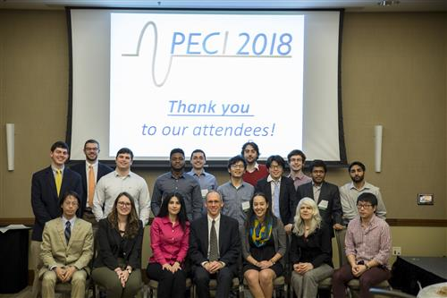 The Power and Energy Conference at Illinois (PECI) is organized and run entirely by graduate students from the Illinois joint IEEE PES/PELS/IAS chapter. (front row, left to right: Derek Chou, Samantha Coday, Mariola Ndrio, Christopher Barth, Cecilia Klauber, Joyce Mast, and Andy Yoon; back row, left to right: Thomas Foulkes, Nathaniel Renner, Jason Galtieri, Samuel Utomi, Adriano Lima Abrantes, Zitao Liao, Enver Candan, Austin Jin, Nathan Brooks, Dipanjan Das, and Avinash Madavan; not pictured: Xuan Yi, Andrew Stillwell, Pei Ng, Joseph Liu, and Jackson Lenz.)