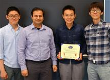 Pictured left to right are TA Kihoon Park, Prof. Bayram,  EE senior Haonan Wu, and TA Hsuan-Ping Lee.