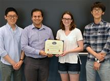 Pictured left to right are TA Kihoon Park, Prof. Bayram, ECE ILLINOIS graduate student Kaitlyn Ann Parsons, and TA Hsuan-Ping Lee.