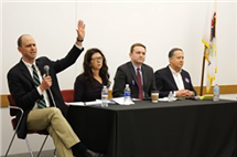 Jon Ebel (left) at a U.S. Congress candidate forum earlier in 2018. (Photo by Tim Gilmore, Illinois Public Media.)