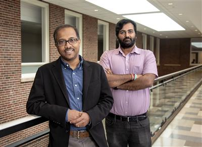 Professor of Bioengineering Dipanjan Pan (left) and post-doctoral researcher Santosh Misra have published a paper in PNAS detailing the solubility of curcumin as a method to kills cancer cells.