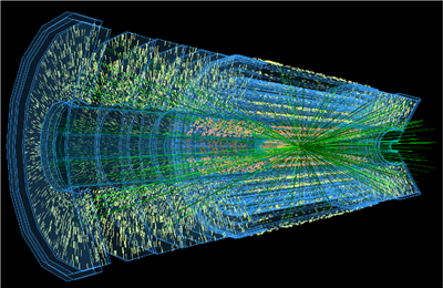 A data visualization from a simulation of the collision between two protons that will occur at the High-Luminosity Large Hadron Collider (HL-LHC). On average, up to 200 collisions will be visible in the collider's detectors at the same time. Shown here is a design for the Inner Tracker of the ATLAS detector, one of the hardware upgrades planned for the HL-LHC. Image courtesy of the ATLAS Experiment � 2018 CERN