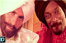 Snoop Dog raps with Indian cinema star Akhshay Kumar in the Bollywood film Singh is King (2008). (Image courtesy of Rini Mehta.)