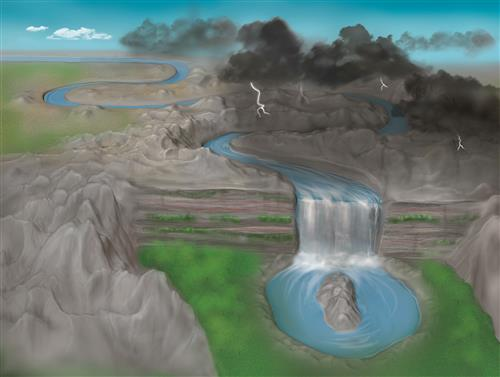 Artist's depiction of a disorder-induced transition to the topological Anderson insulator phase. A river flowing along a straight path is altered by disorder in the underlying landscape. After going through a transition (waterfall), the river forms a closed loop&emdash;a shape having a different topology from that of the initially straight path. In the topological Anderson insulator phase, the trivial band structure of a normal material is transformed into a topologically nontrivial band structure from disorder and disruptions in the tunnel couplings between lattice sites. The winding number in the topological Anderson insulator phase is distinct from that of the normal case without disorder. Image by Lachina Creative, copyright Bryce Gadway, University of Illinois at Urbana-Champaign