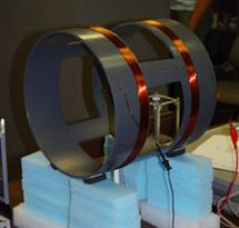 A Helmholtz coil is used to produce a uniform magnetic field to test the Cubesat torque coil and magnetometer.