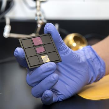 Nanoelectric devices made from atomically thin materials on a silicon chip [Photo courtesy of the Materials Research Laboratory]