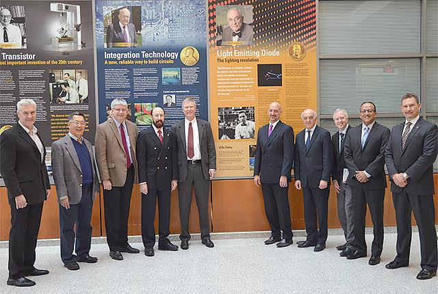 Faculty and former students gathered for a celebration of Nick Holonyak's legacy of innovation at the U of I, Oct. 26, 2018 (left to right): Dennis Deppe, Milton Feng, William H. Sanders, Russell D. Dupuis, Don Scifres, Fred Kish, Tamer Basar, Brian Cunningham, Rashid Bashir, and John Dallesasse.