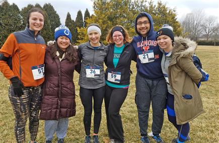 As part of their training and to raise additional funds for the Illini 4000, seniors Viraat Goel and Erin Tevonian (far right) ran in the Illini 4000 5K for Cancer race on March 10th, 2019, with (from left to right) Bioengineering Program Manager Paloma Pearson, alumna Rebecca Ficht (BS 2017), and faculty members Karin Jensen and Marci Pool.