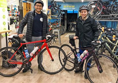 Bioengineering seniors Viraat Goel (left) and Erin Tevonian (right) prepare for a training ride in early April.