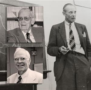 Ralph Peck (left top), Don Deere (left bottom) and Karl von Terzaghi (right)