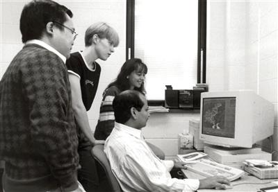 Professor Praveen Kumar with grad students, 1999