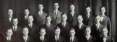 First appearance of Chi Epsilon in The Illio, 1924. Top row: Nelson, Rehnquist, Straub, Gurtler, Black, Wallace, Rall. Second row: Albert, Boberg, Stewart, Larson, Flickinger, Signell. Bottom row: Catlin, Jansson, Mills, Koehler, Bruns, Jewett, Tucker.