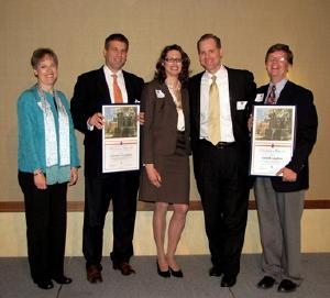NPRE alumni Deborah A. and Terrill R. Laughton are the 2010 winners of the University of Illinois Alumni Association Loyalty Awards for Exceptional Alumni Service. With the Laughtons, here in the middle, are, from left, Ellen Amberg of the Alumni Association; NPRE alumnus Michael J. Giacobbe III, 2008 Loyalty Award winner, and, far right, NPRE Department Head James F. Stubbins.