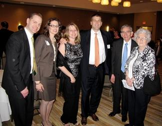 NPRE alumni Terrill R. and Deborah A. Laughton, left, along with alumnus Michael J. Giacobbe III and his wife, Catherine, middle, also were instrumental in establishing the Catherine Prichard Fund for the first undergraduate scholarship in NPRE. Prichard is right, with her husband,William.