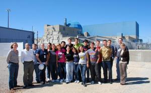 A group of Italian students visiting the Clinton, Illinois, nuclear power station in 2009.