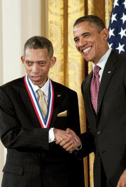 NPRE alumnus George Carruthers with President Barack Obama