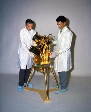 Young George Carruthers with the far-ultraviolet camera and spectrograph
