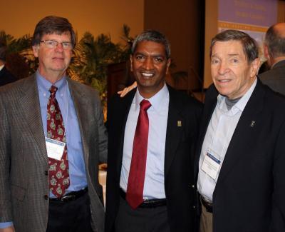 NPRE Department Head Jim Stubbins, NPRE alumnus K.R. Sridhar, and NPRE Emeritus Prof. Barclay Jones