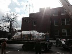 Boxes containing pieces of the disassembled HIDRA facility will be arriving on campus through Thursday.