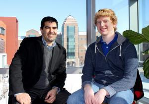NPRE graduate student Mike Lively, right, with his advisor, Associate Prof. J.P. Allain