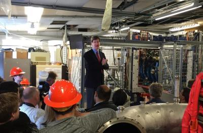 """Department Head Jim Stubbins says HIDRA's """"First Plasma"""" is a great day for NPRE."""