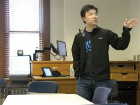 Kevin Wang presents his TEALS program to students in ECE 598EO.